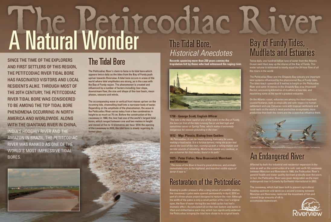 Petitcodiac River interpretation panels (Town of Riverview) - Image contributions, project coordination and co-writing (Design - Brian Branch, Branchdesign.com)
